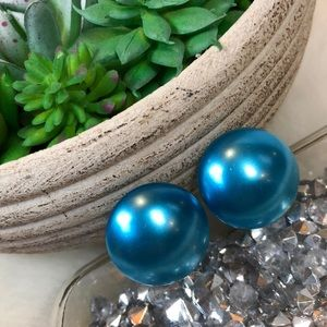 •Vintage• Teal Blue Gumdrop Screw Clip On Earrings